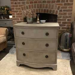 Elegant Grey Hand Painted Bow Fronted Country Chic Vintage Mahogany Chest of Drawers