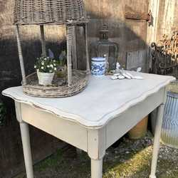 French Country Chic Style Vintage Light Grey Hand Painted Side Table / Breakfast Table
