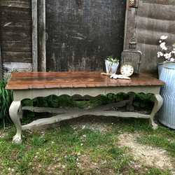 French Country Style Grey Rectangular Vintage Bench / Coffee Table / Claw Feet