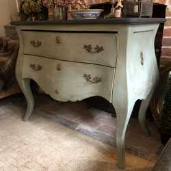 French Country Style Rustic Elegant Duck Egg Blue Hand Painted Vintage Chest of Drawers