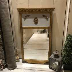 Gold & Grey Hand Painted Swedish Gustavian Style Vintage Rectangular Wall Mirror