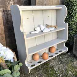 Gorgeous Grey Painted Country Farmhouse Pine Vintage Wall Shelf Unit / Egg Holder