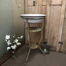 Gorgeous Patina Rustic Vintage French Duck Egg Blue Metal Wash Stand & Bowl