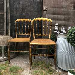 Gorgeous Rare Pair of Vintage Gilded French Parisian Bedroom Boudoir Cane Chairs