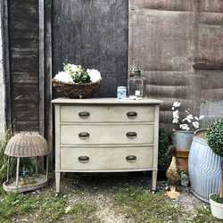 Grey Bow Fronted Gustavian Country Vintage Chest of Drawers / Basin Base On Casters