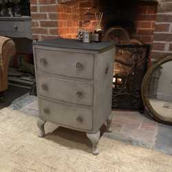 Grey Country Chic With Black Top Bedside Table Cabinet Chest of Drawers Basin Base