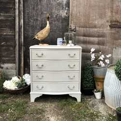 Grey Gustavian Country Style Serpentine Shape Golden Rims Vintage Chest of Drawers
