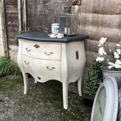 Grey Hand Painted Antiqued French Country Bombe Gustavian Style Chest of Drawers