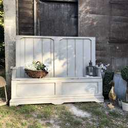 Grey Hand Painted Country Farmhouse Rustic Patina Vintage Pine Settle Bench Storage