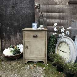 Grey Hand Painted Farmhouse Country Style Aged Vintage Bedside Table / Side Cabinet