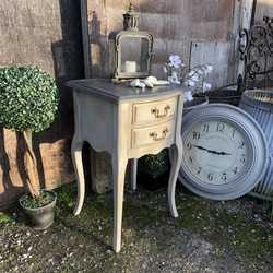 Grey Hand Painted French Country Chic Style Bedside Table Side Cabinet & Black Top