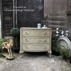 Grey Hand Painted French Rococo Style Ornate Vintage Bow Fronted Chest of Drawers