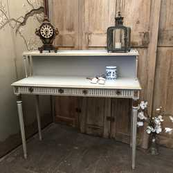 Grey Hand Painted Gustavian Country Style Gold Detailed Vintage Desk Dressing Table