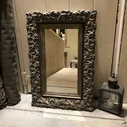 Grey Hand Painted Ornate Bronze Gold Country Tudor Rectangular Vintage Wall Mirror