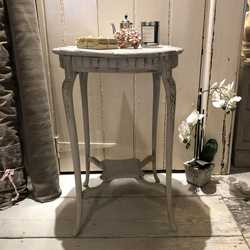 Grey Hand Painted Ornate Country Chic Touch of Gold Vintage Round Side Bedside Table