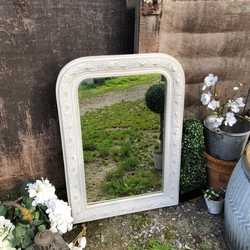 Grey Hand Painted Ornate With Flower Motif Vintage French Country Chic Wall Mirror