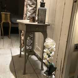Grey Hand Painted Vintage French Country Chic Style Side Hall Table Shelf Drawer