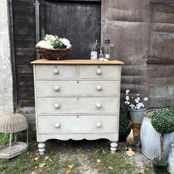 Grey Painted Antique Victorian Country Farmhouse Chest of Drawers - Turned Feet