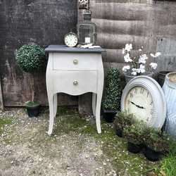 Grey Painted Black Top French Country Chic Style Bedside Table Chest of Drawers Cabinet