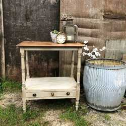 Grey Painted Country Gustavian Style Vintage Side Console Table With a Drawer