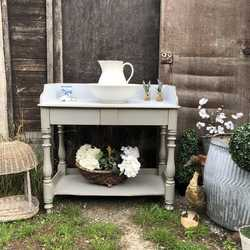 Grey Painted Edwardian Antique Vintage Country Farmhouse Wash Stand / Side Table