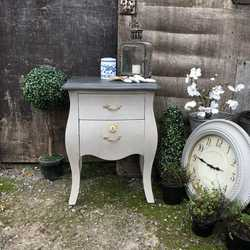 Grey Painted French Bombe Country Chic Style Bedside Table /  Cabinet / Chest of Drawers