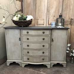 Grey Painted Gustavian Country Style Vintage Bow Fronted Cabinet Sideboard Basin Base