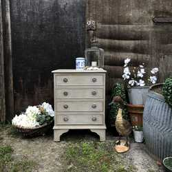 Grey Painted Mahogany Vintage Country Bedside Table / Cabinet / Chest of Drawers