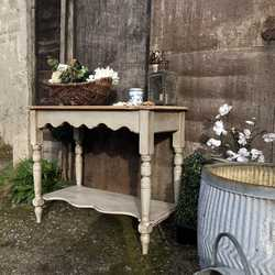 Grey Painted Rustic Country Farmhouse Style Vintage Pine Console Table / Wash Stand