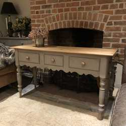Grey Painted Vintage Country Farmhouse Pine Console Table Sideboard Basin Base
