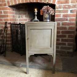 Grey Vintage Country Georgian Gustavian Style Pot Cupboard Bedside Table Cabinet