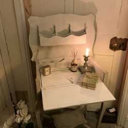 Grey/White Vintage Country Chic Writing Desk Disguised as a Side Table / Bedside Table