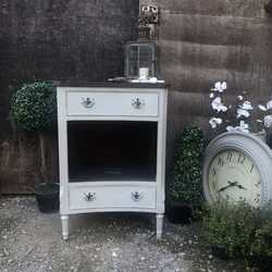 Grey With Black Hand Painted Gustavian Country Style Vintage Bedside Table Cabinet