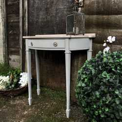 Gustavian Country Chic Vintage Grey Hand Painted Side Table With Pink Faux Marble Top
