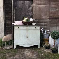 Gustavian Country Style Duck Egg Blue Bow Fronted Vintage Sideboard / Cabinet / Base