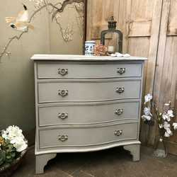 Gustavian Country Style Gold on Grey Painted Vintage Serpentine Chest of Drawers