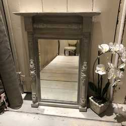 Gustavian Country Style Grey Hand Painted Gilded Antique / Vintage Wall Mirror