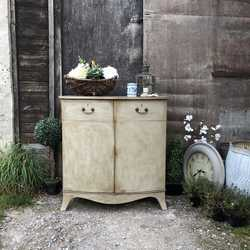 Gustavian Country Style Grey Painted Vintage Bow Fronted Cabinet Sideboard Basin Base