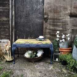 Jeans Blue Colourful Boho Style Painted Vintage Duet Piano Stool / End of Bed Bench