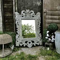 Large Grey Painted Rectangular Ornate Caved French Country Baroque Style Mirror