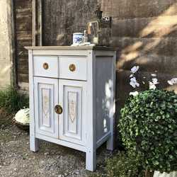 Light Blue Hand Painted Gustavian Country Style Bedside Cabinet Basin Base Cupboard