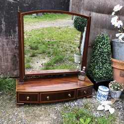 Lovely Antique Bow Fronted Regency Inlaid Mahogany Swing Table Mirror 3 Drawers