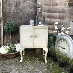 Lovely Grey Hand Painted Country Chic Style Vintage 1950s Bedside Cabinet / Side Table