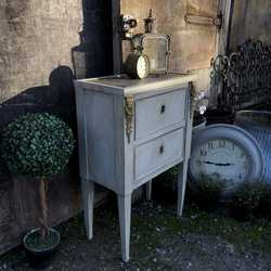 Marble Top Grey Painted Gustavian Country Style Antique Pot Cupboard Bedside Table