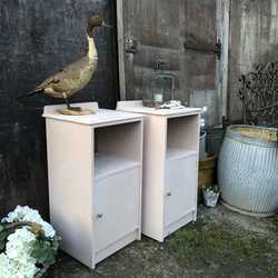 Matching Pair of Antoinette Pink & Gold Hand Painted Vintage Retro Bedside Tables