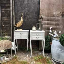 Matching Pair of French Country Rococo Style Grey Bedside Tables / Side Cabinets