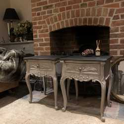 Matching Pair of Grey Hand Painted Vintage French Country Style Ornate Bedside Tables