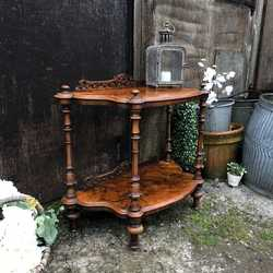 Ornate Antique Vintage Two-Tier Country Chic Walnut Console Table / Bedside Table