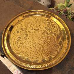 Ornate Decorative Vintage Round Brass Plaque Tray Plate Naive Art Bird Motif Handmade