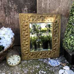 Ornate Small Rectangular Baroque Country Style Golden Tin on Wood Bevelled Wall Mirror
